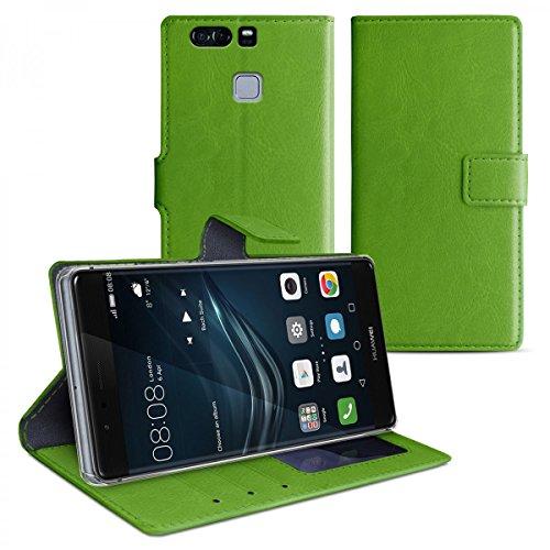 eFabrik Tasche für Huawei P9 PLUS Hülle Smartphone Case Schutztasche mit Aufsteller und Innenfächer Handy Zubehör Leder-Optik grün