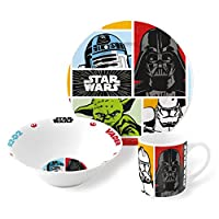 Star Wars 3 Piece Childrens Ceramic Table Dinnerware Set - Plate Bowl and Mug