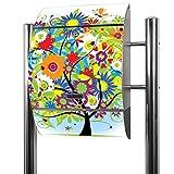 BANJADO Edelstahl Briefkasten groß, Standbriefkasten freistehend 126x53x17cm, Design Briefkasten mit Zeitungsfach Motiv Märchenzauberbaum