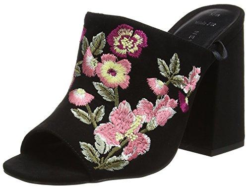 New Look Wide Foot Sash, Escarpins Bout ouvert femme Noir (noir)