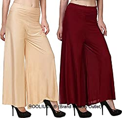 Rooliums Womens Trendy and Stylish Palazzo Pack of 2 (Beige,Maroon, Free Size)