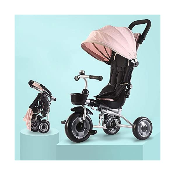 BGHKFF Childrens Folding Tricycle 6 Months To 6 Years Light And Sturdy Kids Tricycle Detachable And Adjustable Push Handle 3-Point Safety Belt Child Trike Maximum Weight 50 Kg,Pink BGHKFF ★ 4-in-1 multi-function: convertible into stroller and tricycle. Remove the backrest and awning as a tricycle. ★Material: Carbon steel + environmentally friendly plastic, suitable for children from 6 months to 6 years old, maximum weight: 50 kg ★ Tricycle foldable, space saving, easy to carry, is the best travel companion, 3-point seat belt, front wheel clutch, rear wheel brake 1