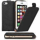 Caseflex iPhone SE Case Black Genuine Leather Flip Cover