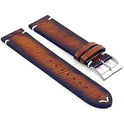 DASSARI Kingwood Italian Leather Hand Finished Vintage Watch Strap w/ Minimal Stitching in Rust 21mm