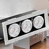 SSC-LUXon® Einbau-Spot K3 kardanisch schwenkbar, Decken-Leuchte gebürstet mit 2x 5W LED OSRAM DuoClick warm-weiß GU10 230V