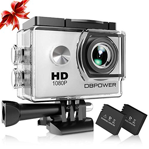 Dbpower® action camera impermeabile 1080p hd 12mp kit 2 batterie ed accessoristica varia (bianco)