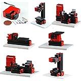 UniqStore mini torno 6 funciones máquina de metal de madera bricolaje herramienta de fresado de vaivén de perforación del torno Model Machine