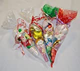 Partytüten, 60Stück–Weihnachten, verschiedene Farben, transparent, weiß, rot & grün, gemustert, kegelförmig – 45Mikron – 36,8x17,8cm