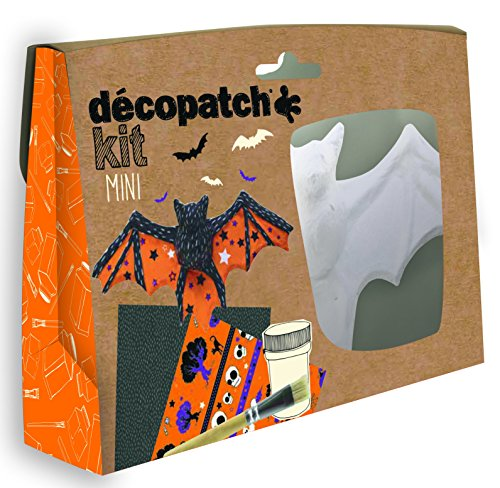 Décopatch KIT019O Bastel Set Pappmaché Fledermaus (ideal für Halloween und für Kinder, 3,5 x 19 x 13,5 cm) orange, schwarz