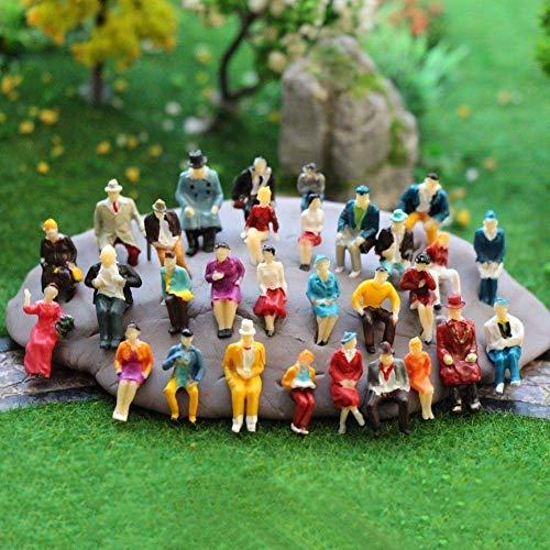 MEJOSER 100 bemalte Figuren sitzend H0 Modelleisenbahn Personen Figuren Massstab HO (1 bis 87) GY (bemalte)