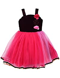 e95d83ce5 Wish Karo Baby Girl's Net and Velvet Frock Dress (Pink, 12-18 Months