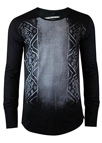 trueprodigy Casual Herren Marken Sweatshirt mit Aufdruck, Oberteil cool und stylisch mit Rundhals (Langarm & Slim Fit), Hoddie für Männer bedruckt Farbe: Schwarz 2563104-2999 Black