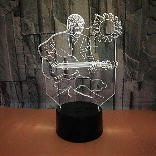 Kreative 3D Gitarrist Nacht Licht 7 Farben Andern Sich USB Adapter Touch Schalter Dekor Lampe Optische Täuschung Lampe LED Lampe Tisch Kinder Brithday Weihnachten Geschenke
