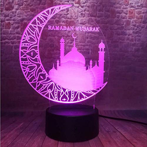 3D Ramadan Mubarak: رمضان Islam Church 7 Farbwechsel Stimmung Für Eid Al-Fitr Party Dekoration Licht Freunde Gläubiger Geschenke