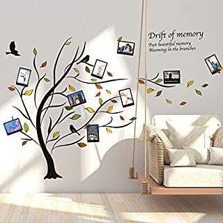 iwallsticker Art Decor Family Tree Photo Frame Decals Removable Decorative Painting Supplies and Wall Treatments Stickers for Living Room Bedroom