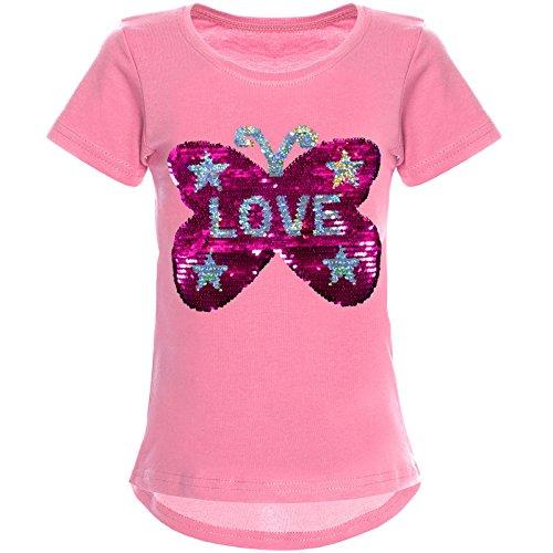 BEZLIT Mädchen Wendepailletten T-Shirt mit Tollem Schmetterling Motiv 22032, Farbe:Dunkelrosa, Größe:140