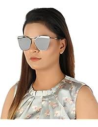 AISLIN® Mirrored Cat Eye Unisex Sunglasses (Silver Lens) (AS-N2235-6-LFSVR349)