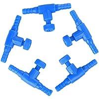 Chytaii 5pcs Válvula de Aire Conexión de Tubos para Acuario Pecera Te de Tubería de Oxígeno Válvula de Aire Acondicionado Azul