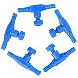 5×Toruiwa Aquarium Luftpumpen Luftventil Fischbehälter Luft Regelventil Sauerstoffpumpen aus Kunststoff für Aquarium Fischbehälter blau