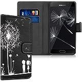 kwmobile Étui en cuir synthétique chic pour Samsung Galaxy A5 (2016) avec fonction support pratique. Design pissenlit amour en blanc noir