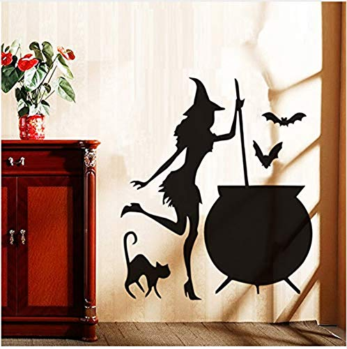 itch Vinly Wall Sticker Halloween Cauldron Potion Bats Black Cat Adhesive Wall Stickers Wall Decor Wall Decals Home Decoration 43.5Cm X 37.5Cm ()