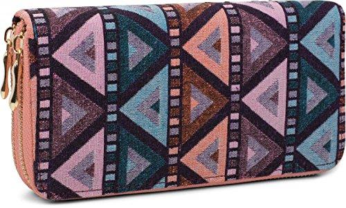 styleBREAKER Geldbörse im Ethno Look mit Azteken Muster, Boho Style, Reißverschluss, Portemonnaie, Damen 02040050, Farbe:Blau-Petrol-Orange-Rose
