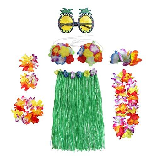 Toyvian Hawaii Kostüm Set Blumen Hula Rock mit Hawaii Halskette Armband Stirnband Bikini BH Haarspange Sonnenbrille für Damen Mädchen 8 Teile / Satz 60 cm (Grün)