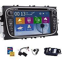 Win8 UI-Touchscreen GPS-Navigation Autoradio DVD-Player Stereoanlage f¨¹r Ford Focus Mondeo S-max Galaxy mit CANBUS NAVI BT MIC FM AM USB SD Inklusive LED-R¨¹ckfahrkamera + 4 GB SD-Karte (USA, Canada)