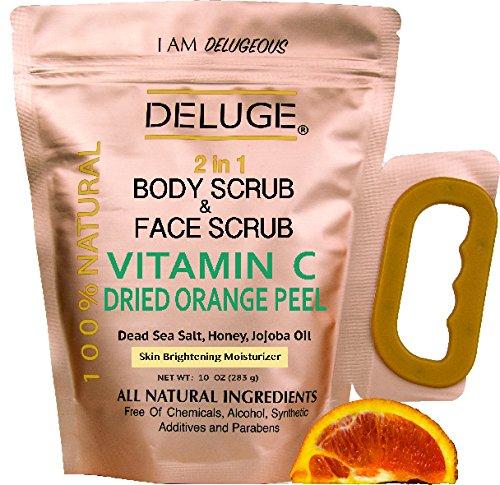 deluge-vitamin-c-scrub-dried-orange-peel-dead-sea-salt-honey-and-jojoba-oil-net-weight-10-oz