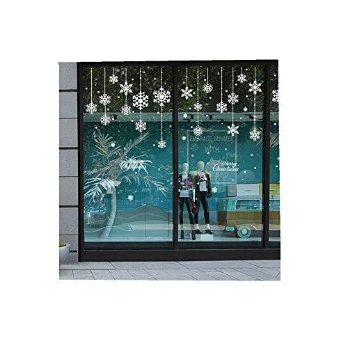 ODJOY-FAN Weiß Schneeflocke Glasaufkleber Fröhlich Weihnachten Haushalt Zimmer Fenster Mauer Aufkleber Wandgemälde Dekor Abziehbild Entfernbar Wandtattoos (58cmx138cm) (Weiß,1 PC) (Erwachsenen-schlafzimmer-wand-abziehbilder)