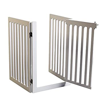 Blanc en bois Chien Gate avec avec ouverture de porte