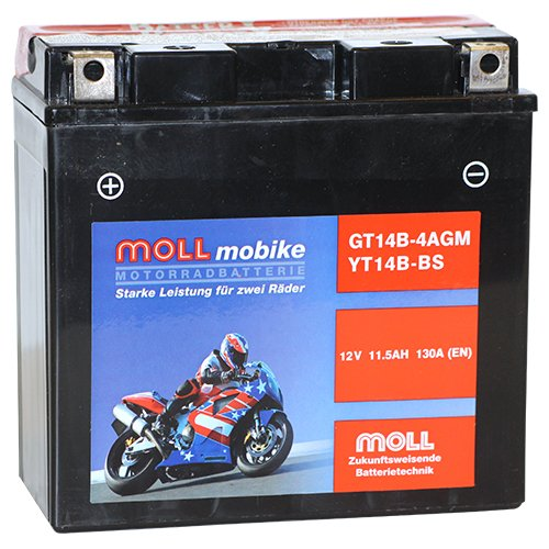Moll mobike AGM Motorradbatterie YT14B-BS 11,5Ah 12V 130A - GT14B-4