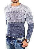 Reslad Männer Pullis Herren Jungen Pullover Pulli Oberteil günstiger Strickpullover Sweatshirt Warm RS-3106 Indigo Blau M
