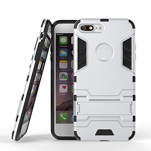 2 in 1 New Armour Tough Art Hybrid Dual Layer Rüstung Defender PC Hard Cases mit Ständer Stoß- Fall für iPhone 7 plus ( Color : Black-b , Size : IPhone 7 Plus ) Silver