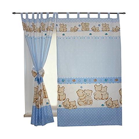 2er Set Gardinen Kinderzimmer Vorhänge mit Schlaufen und Schleifen 155x95 cm Dekoschal Schlaufenschal , Farbe: Bärchen Blau, Größe: ca. 155x95
