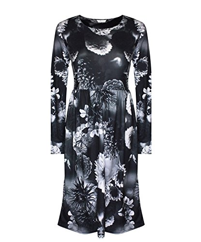 Comfiestyle - Robe - Patineuse - Manches Longues - Femme Shadow Floral