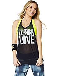 Zumba Fitness Love Mesh - Camiseta sin mangas para mujer, color negro, talla S