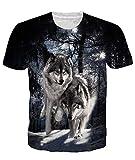 Adicreat Männer Frauen 3D Print Wolf Oberteile Sommer Coole Grafik T-Shirts Schwarz