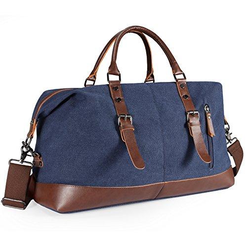 Aicehome Reisetasche Herren,Weekender Canvas 52L Segeltuch mit PU-Leder Verstellbarer Schultergur für Reise am Wochenend Urlaub Blau