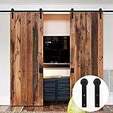 LWZH 8FT (244cm) Kit de Matériel pour Porte de Grange en Bois Coulissante pour Double Porte (Cintres en Forme de I Noirs)