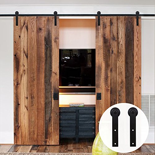 LWZH 8FT (244cm) Schiebetür aus Holz Barn Door Hardware Kit Schrank Set für Doppeltür (Schwarze I-förmige Kleiderbügel) (Schrank-schiebetür-hardware)