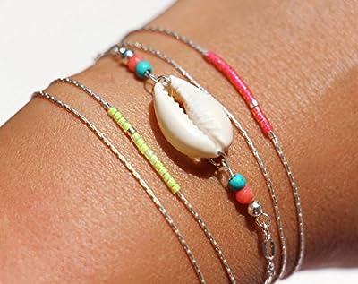 Lot de 3 bracelets: 2 fins double tour jaune fluo et rose fluo + un bracelet coquillage cowrie blanc, en argent massif, bijoux coloré été