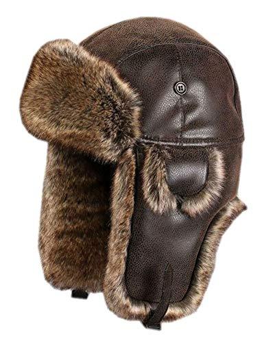 Insun Unisex Wintermütze Fliegermütze Trappermütze mit Kunstleder Fellmütze Herren Russenmütze Braun L (Hut Umfang:58cm)