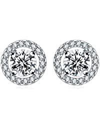 Zorah Silver Plated Stud Earrings For Women Decorated With Cubic Zirconia Diamonds- Silver