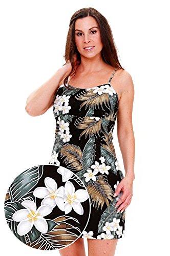 Pacific-Legend-Original-Hawaii-vestido-Mujer-S-XXL-Verano-Hawaii-de-Print-palmera-hojas-Negro-negro-extra-large