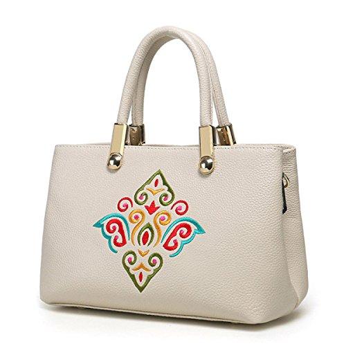 Mode Folk-custom Stickerei Lederhandtasche Umhängetasche Multicolor Beige