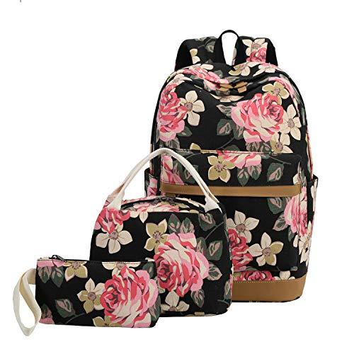 (Big Floral - Black) - School Backpack Girls Teens Bookbags Set, 38cm Women Laptop Bag + Lunch Tote Bag + Clutch Purse/Pencil Case (Big Floral - Black) -