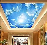H&M Wallpaper PVC Selbstklebende Tapete 3D Blauer Himmel Weiß Wolken Dekoration Wohnzimmer Restaurant TV Wand Decke Tapeten/2 * 3=6 Quadratmeter