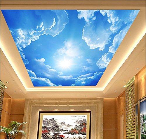 CICDGD Tapeten Wallpaper PVC Selbstklebende Tapete 3D Blauer Himmel weiß Wolken Dekoration Wohnzimmer Restaurant TV Wand Decke Tapeten/Quadratmeter