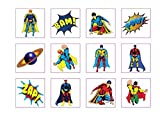 24 Temporary super hero tattoos children kids goody party pinatta fillers by Henbrandt